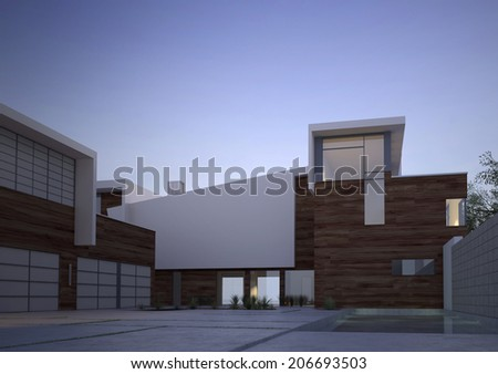 Modern contemporary house facade with an exterior courtyard in evening light with vignetting