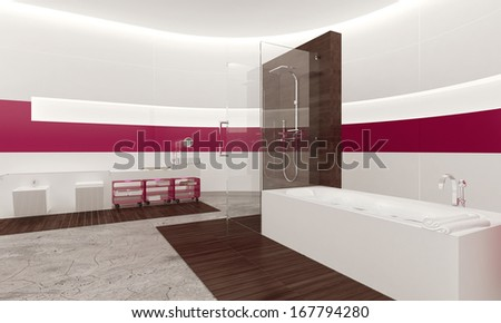 Modern contemporary white and pink bathroom interior