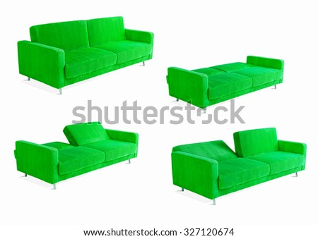 modern convertible green sofa four phases , on white background - stock photo