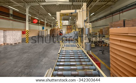 Modern Conveyor belt in industrial interior photo - stock photo