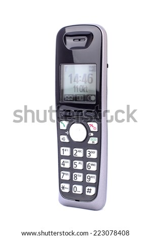 modern cordless phone with buttons - stock photo
