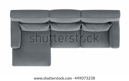 Modern corner sofa  isolated on white background , top view - stock photo