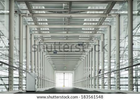 modern corridor - photo - steel construction - stock photo