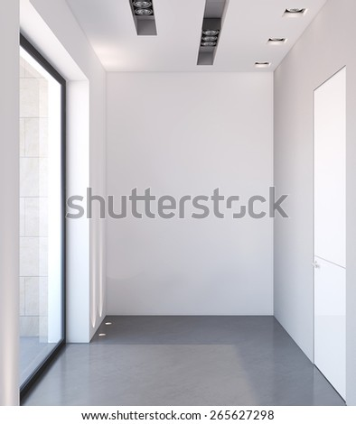Modern corridor with empty white wall. 3d render. - stock photo