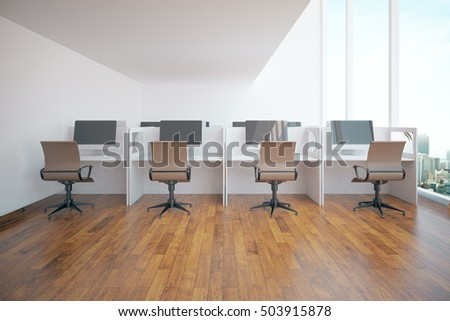 Modern coworking office interior with city view. 3D Rendering