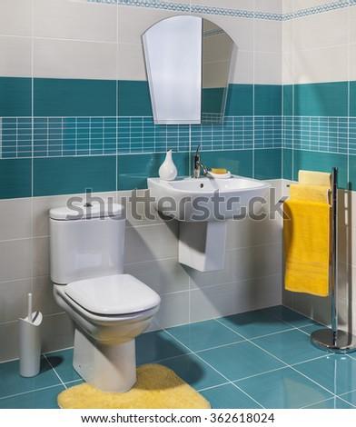 modern cozy bathroom - stock photo