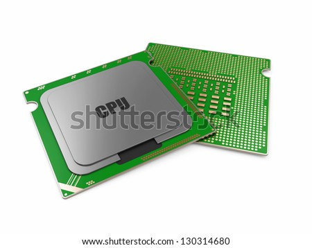 Modern CPU - Central Processing Unit isolated on white background