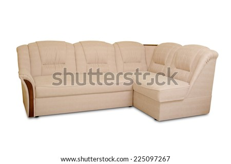 modern cream leather sofa isolated on white background