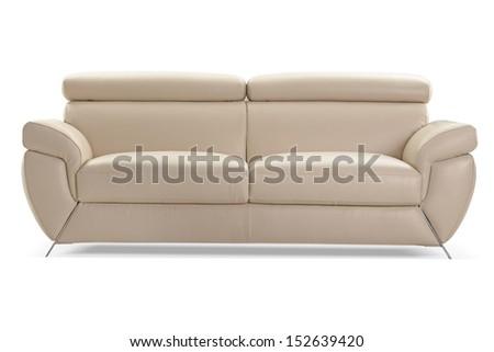 modern cream leather sofa isolated on white background, fron view, studio shot - stock photo