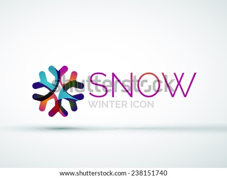 Modern Creative Christmas snowflake company logo design, frost icon - stock photo