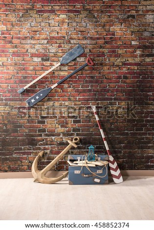modern creative sea space brick wall shovel in the young room wall decoration