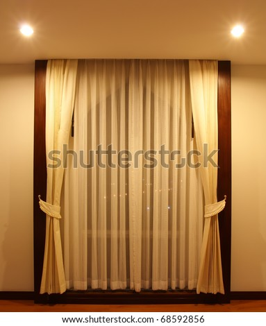 Modern curtain in hotel on warm feeling