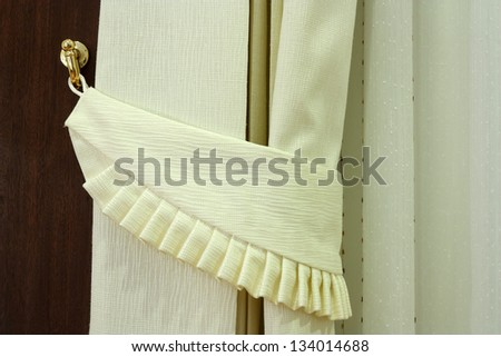 Modern curtain in hotel  with hook on warm feeling, left