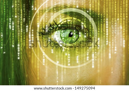 Modern cyber woman with matrix eye concept - stock photo