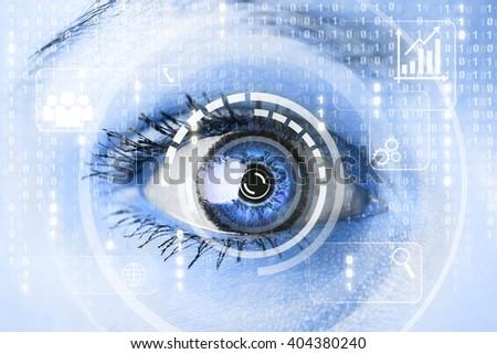 Modern cyber woman with matrix eye concept. Macro shot - stock photo
