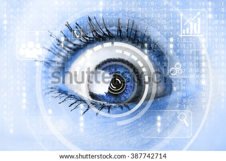 Modern cyber woman with technology eye looking