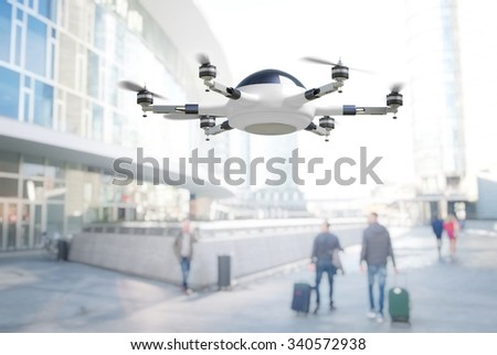 modern 3d drone adn town background - stock photo