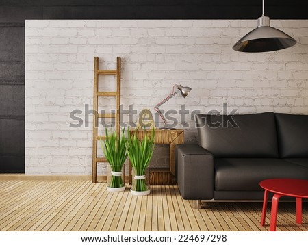 modern 3d illustration interior room with a beautiful furniture - stock photo