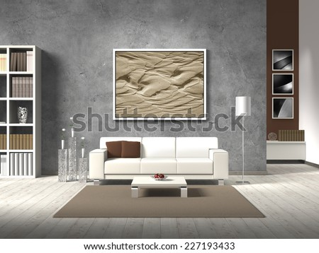 modern 3D living room rendering with white sofa and copy space for your own image/photos on the concrete wall behind the sofa