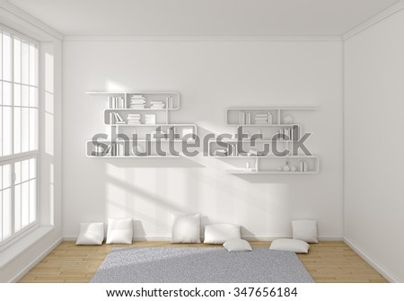 Modern 3d rendered interior with a big window. - stock photo