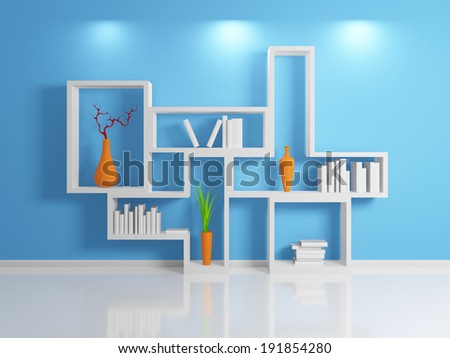 Modern 3d rendered shelf. - stock photo