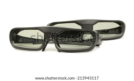 Modern 3D RF glass spectacles for home cinema isolated on white background