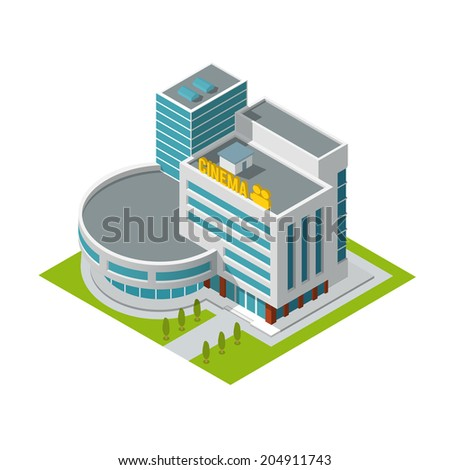 Modern 3d urban cinema theatre building with architectural elements isometric isolated  illustration