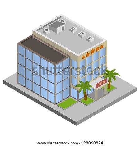 Modern 3d urban hotel building with palms isometric isolated  illustration.