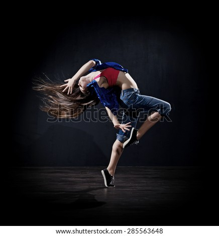 Modern dancer girl (dark version) - stock photo