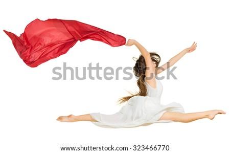 Modern dancer girl isolated on white - stock photo