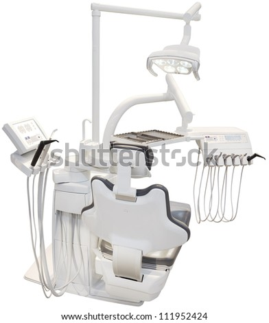 Modern Dental Chair Isolated with Clipping path - stock photo