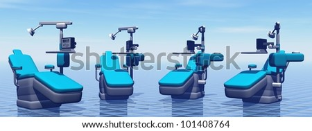 Modern dental chairs in blue background - stock photo