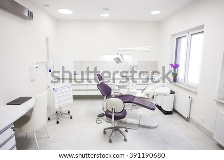 Modern dental practice. Dental chair and other accessories