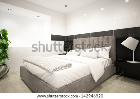Modern design bedroom interior - stock photo