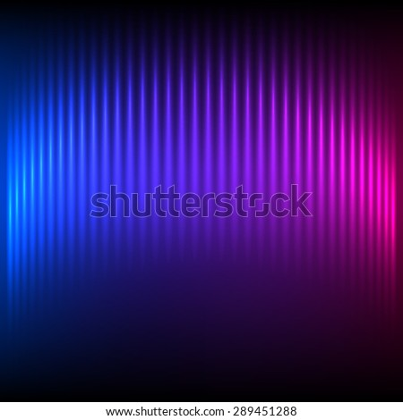 Modern design blue pink abstract background of bright glowing blur wave lines.  Futuristic northern lights style night glow neon disco club or night party