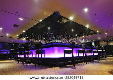 modern design club restaurant bar indoors - stock photo