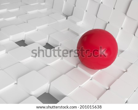 Modern design concept illustration with white tiled cubes and red ball - stock photo