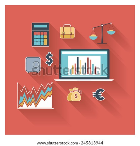Modern design flat icon collection concept in stylish colors of business workflow items and elements, office things and equipment, finance and marketing objects. Isolated on red background. - stock photo