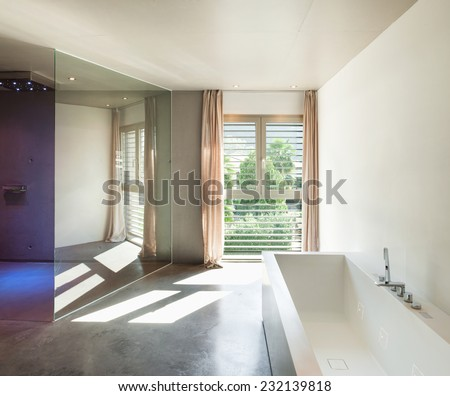 Modern design, interior house, wide bathroom  - stock photo