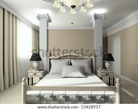 Modern design interior of bedroom. 3D render - stock photo