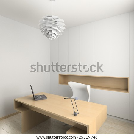 Modern design interior of cabinet. 3D render - stock photo