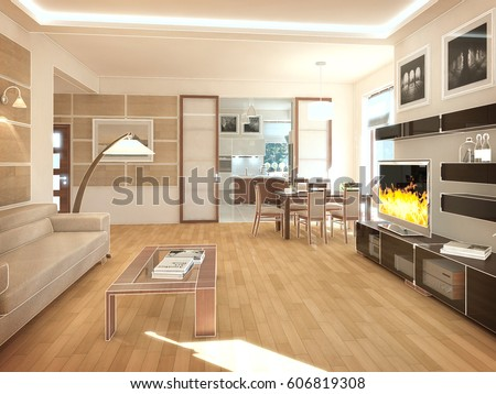 Living Room Interior Gray Brown Colors Stock Photo