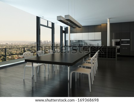Modern design kitchen interior - stock photo