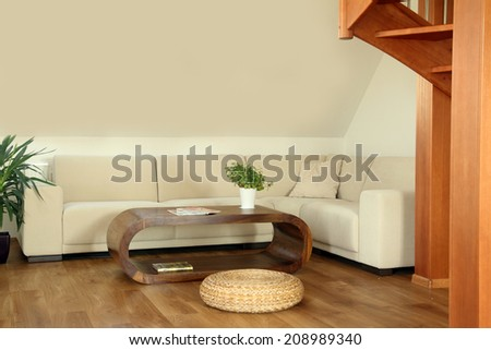 modern design living room - stock photo