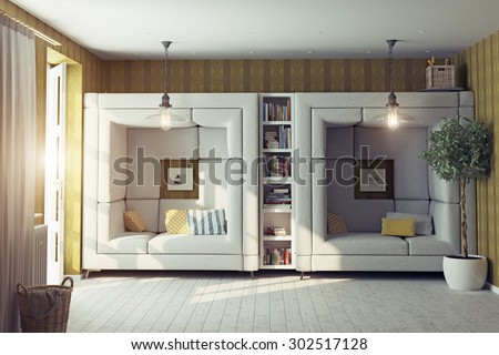 modern design living room interior. 3d design concept - stock photo