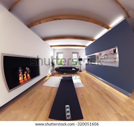 Modern Design Living Room Interior Fish Stock Illustration 320051606