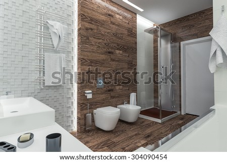 modern design of a bathroom with shower. 3D illustration