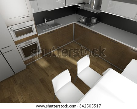 modern design of a  kitchen interior 3d render