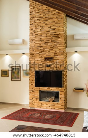 Modern design of fireplace in luxury home interior