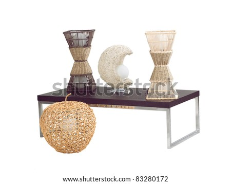 Modern design of rattan table lamps - stock photo
